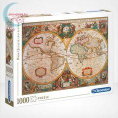 A Clementoni 1000 darabos Antik térkép nevű kirakója visszarepít minket több száz évvel a történelembe: a Nova totius terrarum orbis geographica ac hydrographica tabula nevű térkép puzzle tökéletes ajándék lehet a történelmet kedvelők számára. #Puzzle #Kirakó #Kirako #Clementoni #Játék #Jatek #Térkép #Terkep #Map #Ajándék #Ajandek Clementoni Puzzle, Puzzle Shop, Puzzle Pieces, New York Taxi, Lego, Evening Sunset, Eye For Detail, Toy Sale, Line Design