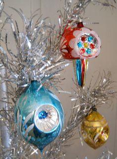 Large Vintage Mercury Glass Indented Christmas Tree Ornaments, Set of 3