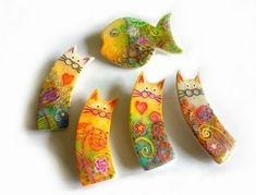 Polymer Clay Cat, Polymer Clay Animals, Polymer Clay Projects, Polymer Clay Creations, Polymer Clay Beads, Plastic Fou, Biscuit, Diy Fimo, Clay Cats