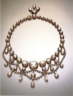 DIAMOND RIVIÈRE NECKLACE WITH DIAMOND BRIOLETTE DROPS~ from the collection of Countess Mona von Bismarck.