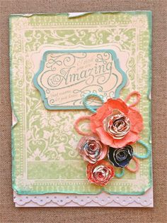 Petite Fleur Paperie - The DSP featured in the envelope card is Venetian Romance and I have based the floral card on a background stamped with Ex Libris,  used the large scallop circle punch, and the NEW Spiral Originals Die