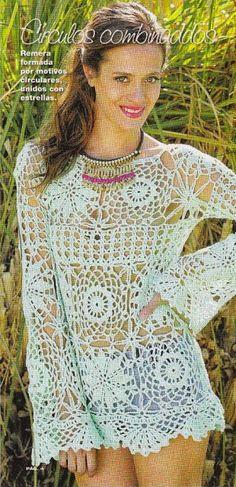 9 Hermosas Blusas a Crochet - Con patrones gratis | CTejidas [Crochet y Dos Agujas]