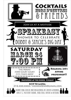 Speakeasy party invitation... I like the layout & the graphics.