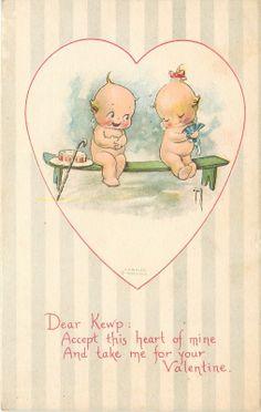 Rose O'Neill Kewpie Valentine Shy Hides Behind Ladies Fold Fan Hat Cane Gibson | eBay