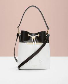 Colour block leather bucket bag