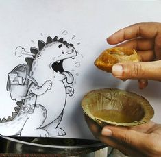 Adorable Illustrated Characters Playfull Interact With Real Life Objects #Drogo Starving