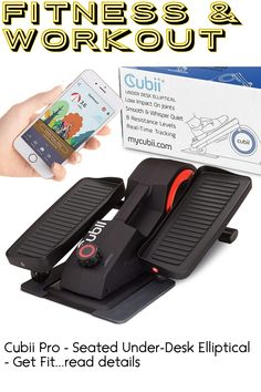 Cubii Pro - Seated Under-Desk Elliptical - Get Fit While You Sit - Bluetooth Enabled, Sync with Fitbit and Apple HealthKit - Whisper-Quiet - Adjustable Resistance - Easy to Assemble ... (This is an affiliate link) Cycling Bikes, Whisper, At Home Workouts, Cardio, Fitbit, Bluetooth, Training, Desk, Apple