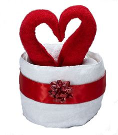 3 hand towels and 1 bath towel. Romantic Towel Origami Heart Filled Basket. Wedding proposal idea.