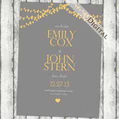 Modern Save the date grey and yellow wedding by JoyInspiration, $13.00