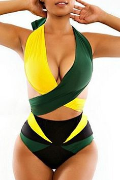 Color Block High-Waisted Two-Piece Swimsuit