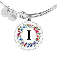 Your place to buy and sell all things handmade Initial Pendant Necklace, Initial Jewelry, Initial Bracelet, Gold Bangle Bracelet, Gold Bangles, Simple Necklace, Simple Jewelry, Floral Letters, Stainless Steel Jewelry