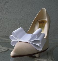 Two Tone Satin Ribbon Bow Shoe Clips White And by Chuletindesigns, $20.00