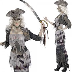 4in1 Geister Piratin Kostüm Zombie Zombiekostüm Damen Halloween Gr.36-48 50 L XL | eBay