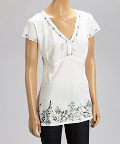 Take a look at the Spruce Embroidered Flora Cap-Sleeve Top on #zulily today!