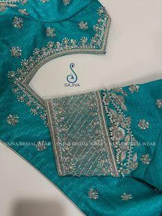 Wedding Saree Blouse Designs, Silk Saree Blouse Designs, Silver Work, Blue And Silver, Zardosi Work Blouse, Engagement Saree, Zardosi Embroidery, Designer Blouse Patterns, Blouse Models