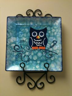 bubble paint your own pottery | Bubbles and Hoot Ceramic Plate | Finished Ceramic Pieces