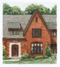 Red Brick Entryway Original Pen and Ink with by ruthsartwork, $140.00