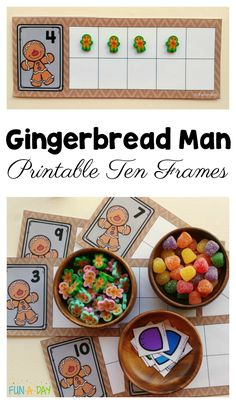 Use these gingerbread man printable ten frames to teach a variety of early math skills in preschool and kindergarten. Christmas Math, Christmas Activities For Kids, Preschool Christmas, Noel Christmas, Xmas, Winter Activities, Preschool Themes, Kindergarten Activities, Preschool Centers