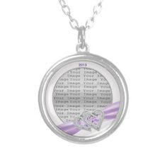 Custom Hearts Lavender Ribbon Necklace #Necklace