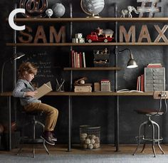 Industrial-style-Rustic-Vintage-Solid-wood-timber-Book-Shelf-Computer-Desk-C