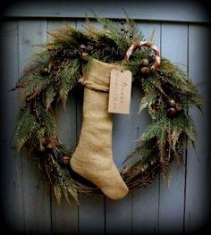 Primitive Shabby Burlap Christmas Stocking Wreath Candy Cane and Jingle Bells #NaivePrimitive #PrimbyNature