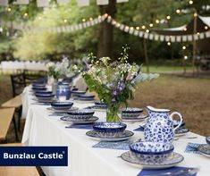 Bunzlau Castle   Outdoor wedding Bunzlau Castle® tableware is made by hand. Each ceramic form passes through at least fifteen pairs of hands! #Handmade #quality #polishpottery #madeineurope #love #bunzlaucastle #home #kitchen #tabletop #ceramics #blue #flowers #wedding #outdoor #outdoorwedding #love Polish Pottery, At Least, Ceramics, Table Decorations, Blue Flowers, Tulip, Tableware, Tabletop, Handmade