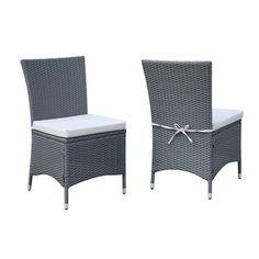 Shop for Portfolio Aldrich Grey Indoor/Outdoor 2-piece Armless Dining Chair Set. Get free delivery at Overstock.com - Your Online Garden