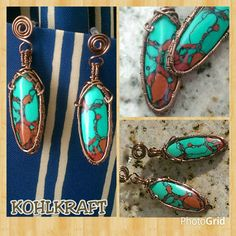 """Gorgeous Sonora Sunrise reconstituted oval drops hanging from swirled copper posts.    Earrings are made with 85% Natural crushed stone, woven in copper, total length is slightly under 2"""" long.    An absolute gorgeous bright addition to your summer wardrobe!!    KOHLKRAFT Original. 