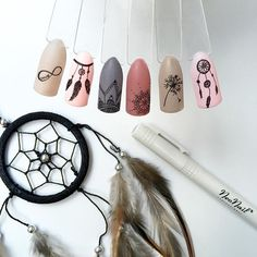 Dream catcher and other symbols on nails pretty things swag nails, acrylic nail Funky Nails, Love Nails, Pretty Nails, My Nails, Nail Swag, Dream Catcher Nails, Dream Catchers, Nail Photos, Nails Pictures