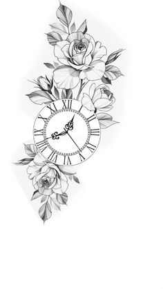 Pocket Watch Tattoo Design, Clock Tattoo Design, Floral Tattoo Design, Tattoo Design Drawings, Flower Tattoo Designs, Half Sleeve Tattoos Designs, Stop Watch Tattoo, Watch Tattoos, Rose Tattoos