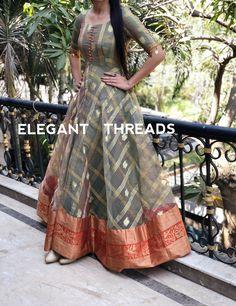 Sari Dress Indian Most Popular Ideas Frock Design, Silk Dress Design, Long Dress Design, Indian Anarkali Dresses, Kalamkari Dresses, Ikkat Dresses, Kurta Designs, Kurti Designs Party Wear, Saree Blouse Designs