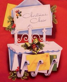 Christmas mail time cheer. Christmas Mail, Christmas Delivery, Vintage Christmas Cards, Retro Christmas, Christmas Greeting Cards, Christmas Greetings, Cheer, Gift Wrapping, Letters