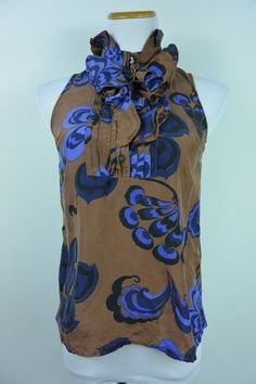 J.Crew 2 Silk Brown Blue Graphic Ruffle Button Sleeveless Blouse Womens #834 #JCrew #Blouse #Career
