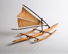 Hawaiian decor, Hawaiian boat model crafted from a intensely figured piece of Curly Maple and Ebony. Wooden Ship, Wooden Art, Wooden Crafts, Model Sailing Ships, Model Ships, Woodworking Workshop, Woodworking Projects Diy, Making Wooden Toys, Wall Decor Design