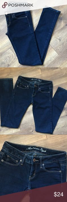 AE Dark Wash Skinny Jeans - Dark wash - Skinny ankle - Condition: Gently worn, no flaws  - Brand: American Eagle Outfitters - Size: 2 regular American Eagle Outfitters Jeans Skinny
