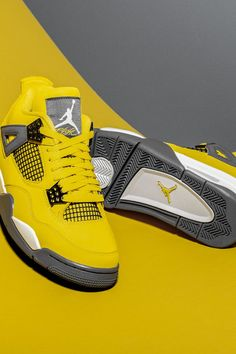 """Rumors of the Air Jordan 4 """"Lightning's"""" impending return have been a topic of conversation for years… until now. Fifteen years after it debuted exclusively on Jumpman23.com, the classic look is back as a standalone release this summer. Air Jordan Shoes, Jordan 3, Michael Jordan, Original Air Jordans, Black Mesh, Black N Yellow, Sneakers Nike, Retro, Lightning"""