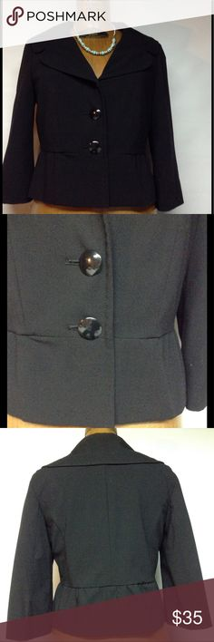 Short blazer 3 button front Short black blazer not faded 3/4 sleeves - larger collar - trim edge - 3 button front- :62% polyester 33% rayon 5%spandex. Lining 100% polyester.  19 inches long 18 inches arm pit to arm pit Apt.9 Jackets & Coats Blazers