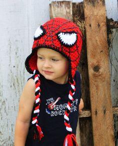 Crochet Red Spider hat. por KrazyHats