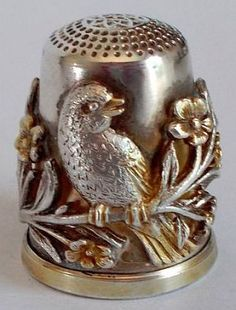 Sterling Silver Thimble - German - Raised Birds & Flowers - Julius Wengert.