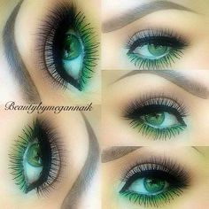 Makeup, eye makeup, pop of color, green, neutral makeup.