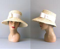 1950s hat / wide brim straw hat / Summer Holiday sunhat. $45.00, via Etsy.