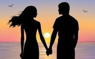Silhouettes of man and woman standing and holding hands at evening time. On the background sunset and stars over the sea. Hand Silhouette, Silhouette Painting, Couple Painting, Love Painting, Love Names For Him, Love Quotes For Him Romantic, Couple Holding Hands, Romantic Paintings, Romantic Poetry