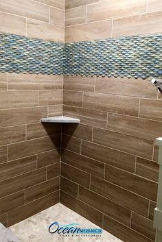 To Break Up An Area Of Large Tiles In Shower Stall Use Ripple Spring Melt Mosaic Gl Tile As Inlay We Love The Combination Www Oceanmosaics