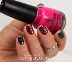 Nail art rafters and studs China Glaze Live Love Polish