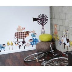 Pop and Lolli Cutesy Characters Fashion Farm Gang Wall Stickers