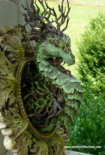 """Working on my second framed Dragon. My first Dragon was """"Kuu"""" the Moon Dragon . Had so much fun creating him, I thought I would do another o. Fantasy Forest, Fantasy Art, Dragon Statue, Fantasy Dragon, Cool Artwork, Amazing Artwork, Garden Sculpture, Garden Statues, The Outsiders"""