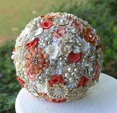 Coral Peach Gold Wedding Brooch Bouquet. Deposit on a custom made to order Heirloom Broach Bouquet.