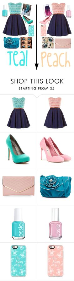 """Who are you, Teal or Peach? Vote in the comments!"" by happinesspeaceandlove ❤ liked on Polyvore featuring Michael Antonio, Miu Miu, Sasha, Essie and Casetify"