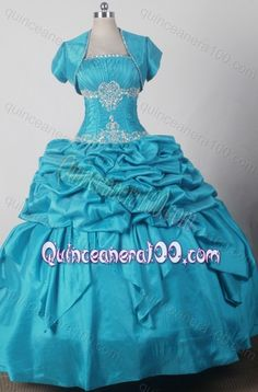 2014 Exquisite Ball Gown Strapless Appliques Quinceanera Dresses in Teal