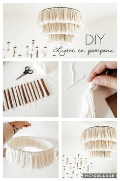 DIY : Mon abat-jour effet macramé projects for the home crafts Easy Diy Crafts, Diy Crafts To Sell, Diy Crafts For Kids, Home Crafts, Craft Ideas, Decorating Ideas, Diy Lustre, Ideias Diy, Diy Chandelier